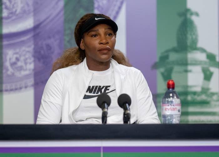 Serena Williams attends a press conference on June 27.