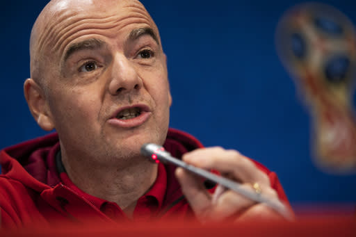 FIFA President Gianni Infantino talks to journalists during a news conference during the 2018 soccer World Cup at the Luzhniki stadium in Moscow, Russia, Friday, July 13, 2018. (AP Photo/Francisco Seco)