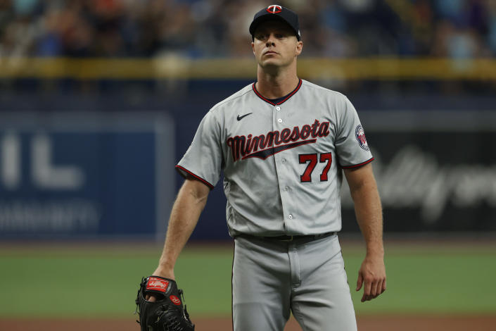 Minnesota Twins starting pitcher Andrew Albers waits for a new ball after giving up a home run to the Tampa Bay Rays during the second inning of a baseball game on Saturday, Sept. 4, 2021, in St. Petersburg, Fla. (AP Photo/Scott Audette)