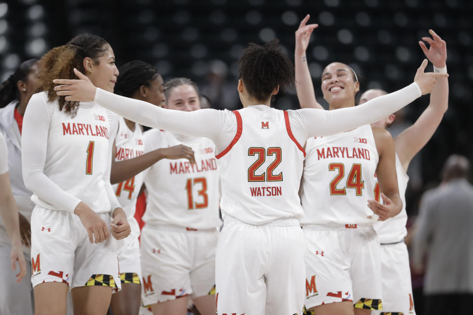 Maryland's Blair Watson (22) celebrates with her teammates after Maryland defeated Ohio State to win the NCAA college basketball championship game at the Big Ten Conference tournament, Sunday, March 8, 2020, in Indianapolis. (AP Photo/Darron Cummings)