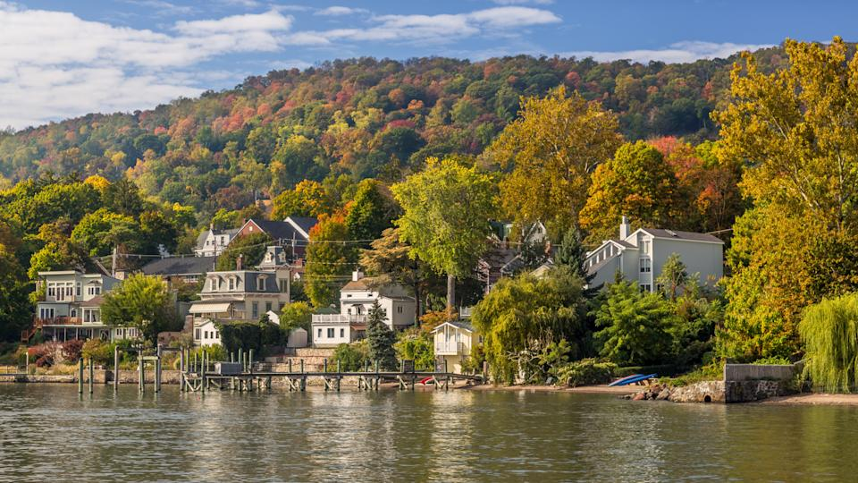 Landscape with Trees in Autumn Colors (Foliage), Hudson River, Houses and Blue Sky, Nyack, Rockland County, Hudson Valley, New York.