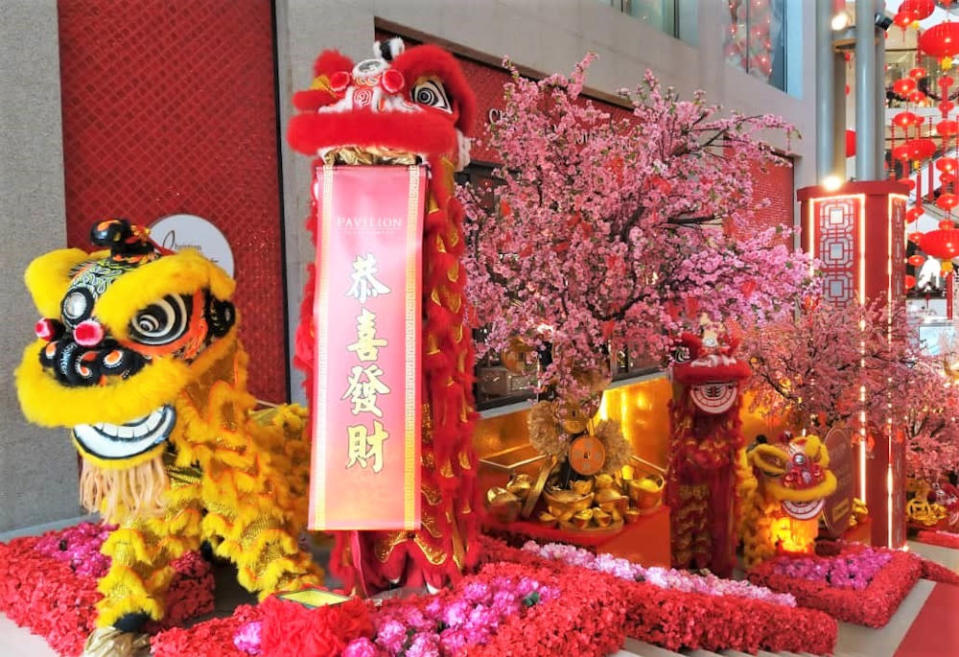 Lucky lions are ready to greet shoppers upon the mall's Spanish Steps. — Picture courtesy of Pavilion REIT Malls