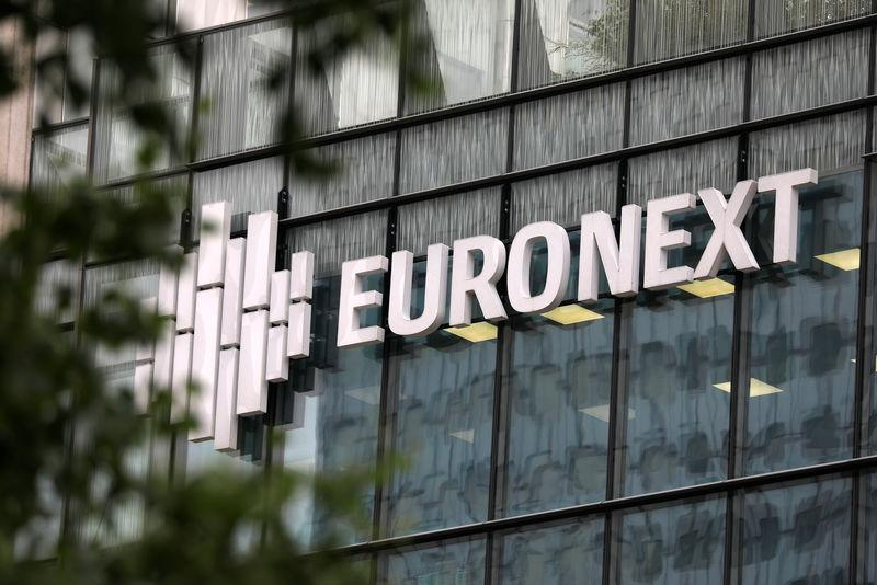 The logo of stock market operator Euronext is seen on a building in the financial district of la Defense in Courbevoie