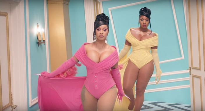"""A still from Cardi B, left, and Megan Thee Stallion's single """"WAP."""" <span class=""""copyright"""">(Atlantic Records / YouTube)</span>"""