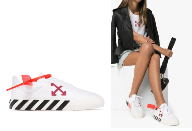 OFF-WHITE canvas arrow low top vulcanized sneakers