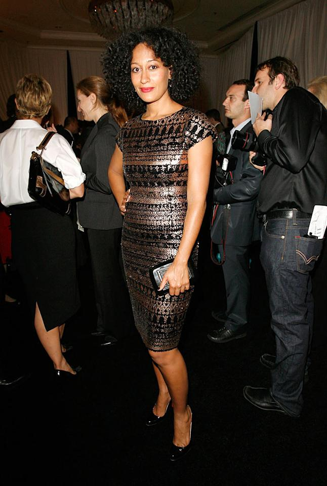 """Girlfriends"" star Tracee Ellis Ross shimmered in a simple sheath. Donato Sardella/<a href=""http://www.wireimage.com"" target=""new"">WireImage.com</a> - October 15, 2007"