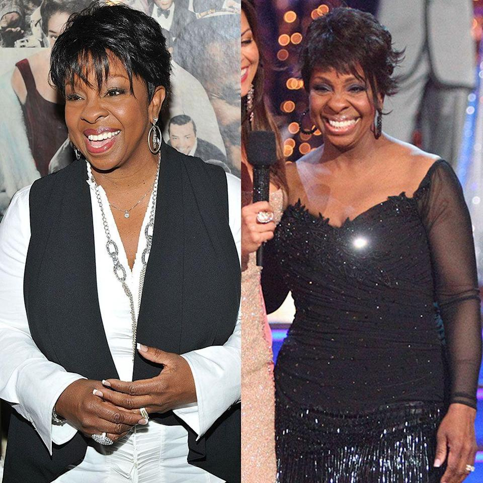 """<p>The 67-year-old Motown singer was already losing weight before she arrived for <em>DWTS </em>season 14 in 2012. By the time she was eliminated in the middle of the season, she'd dropped 60 pounds. Her dancing pro Tristan McManus was key to her weight loss, and she didn't want to leave him. """"[Tristan] helped [by] wearing me out,"""" Gladys told reporters backstage after she was eliminated, per <em><a href=""""https://people.com/tv/dancing-with-the-stars-gladys-knight-says-i-lost-60-lbs/"""" rel=""""nofollow noopener"""" target=""""_blank"""" data-ylk=""""slk:People"""" class=""""link rapid-noclick-resp"""">People</a>. </em>She also followed Freshology's Getslim with the Stars program to lose weight. """"You've got to eat healthy and you've got to put a little movement into it,"""" she says.</p>"""