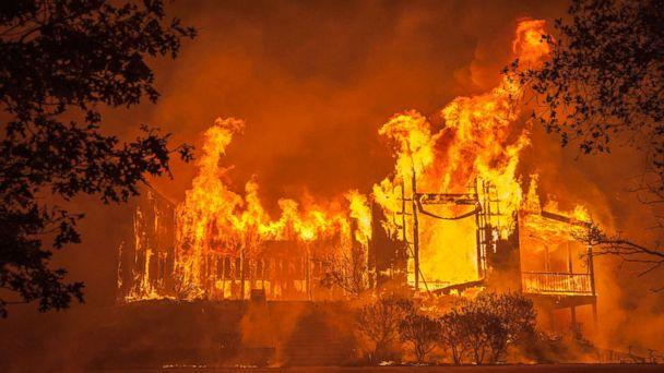 PHOTO: Fire totally engulfed the main structure at the Paras Vineyards as the Nun fire continues to burn west of downtown Napa, Calif., Oct. 10, 2017. (Peter DaSilva/Polaris)