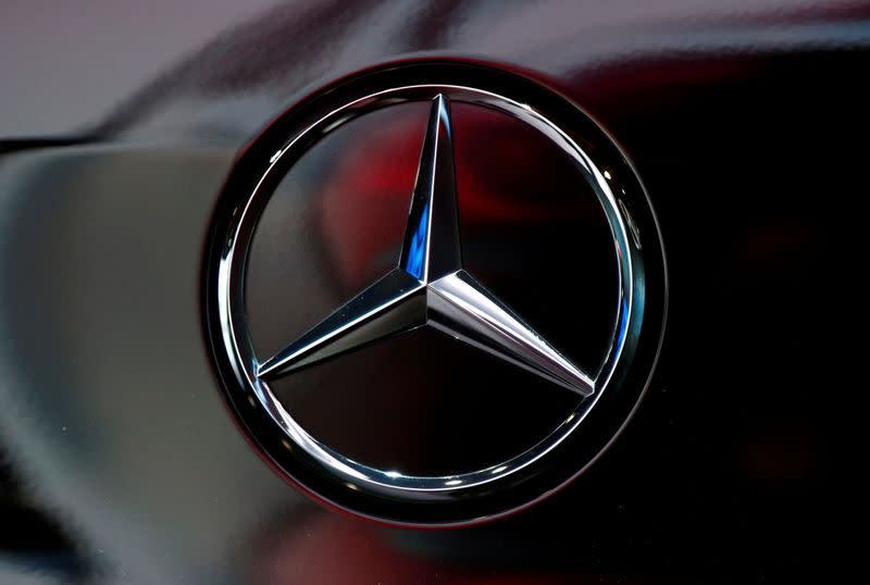 FILE PHOTO: The logo of German car manufacturer Mercedes-Benz is seen at Brussels Motor Show