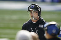 Indianapolis Colts head coach Frank Reich watches the first half of an NFL football game against the Cincinnati Bengals, Sunday, Oct. 18, 2020, in Indianapolis. (AP Photo/Michael Conroy)