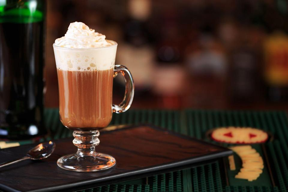"<p>A popular coffee cocktail for brunch, dessert and more, Irish coffee balances hot coffee with Irish whiskey and lightly whipped cream. </p><p>Pro tip: Use brown sugar instead of white granulated sugar for a sweeter, more caramelized flavor. <br></p><p><em><a href=""https://www.melitta.com/en/Recipes-513,,6345.html?kategorie=341"" rel=""nofollow noopener"" target=""_blank"" data-ylk=""slk:Get the recipe for Irish Coffee from Melitta »"" class=""link rapid-noclick-resp"">Get the recipe for Irish Coffee from Melitta »</a></em></p>"