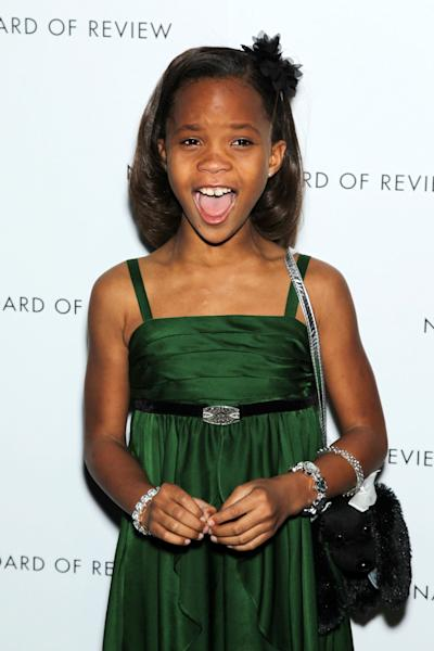 """This Jan. 8, 2013 photo released by Starpix shows actress Quvenzhane Wallis at the National Board of Review awards gala in New York. Wallis was nominated for an Academy Award on Thursday, Jan. 10, 2013, for best actress for the film, """"Beasts of the Southern Wild"""". The 85th Academy Awards will air live on Sunday, Feb. 24, 2013 on ABC. (AP Photo/Starpix, Marion Curtis)"""