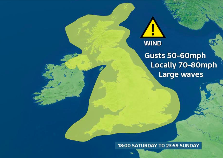 Winds of up to 80mph are expected to hit Britain