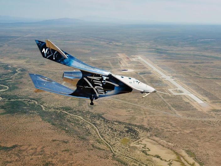 The VSS Unity on a gliding approach to the 12,000-foot-long runway at Spaceport America near Truth or Consequences, New Mexico. The company is an anchor tenant at the state-funded facility. / Credit: Virgin Galactic  - e7843374faae2126f2ad04b167e8a3cf - Richard Branson heading for space this weekend