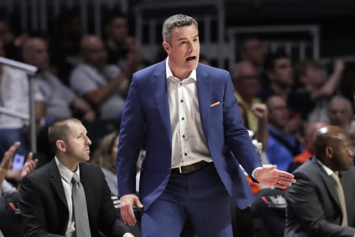 Virginia head coach Tony Bennett watches during the second half of an NCAA college basketball game against Miami, Wednesday, March 4, 2020, in Coral Gables, Fla. Virginia won 46-44. (AP Photo/Lynne Sladky)