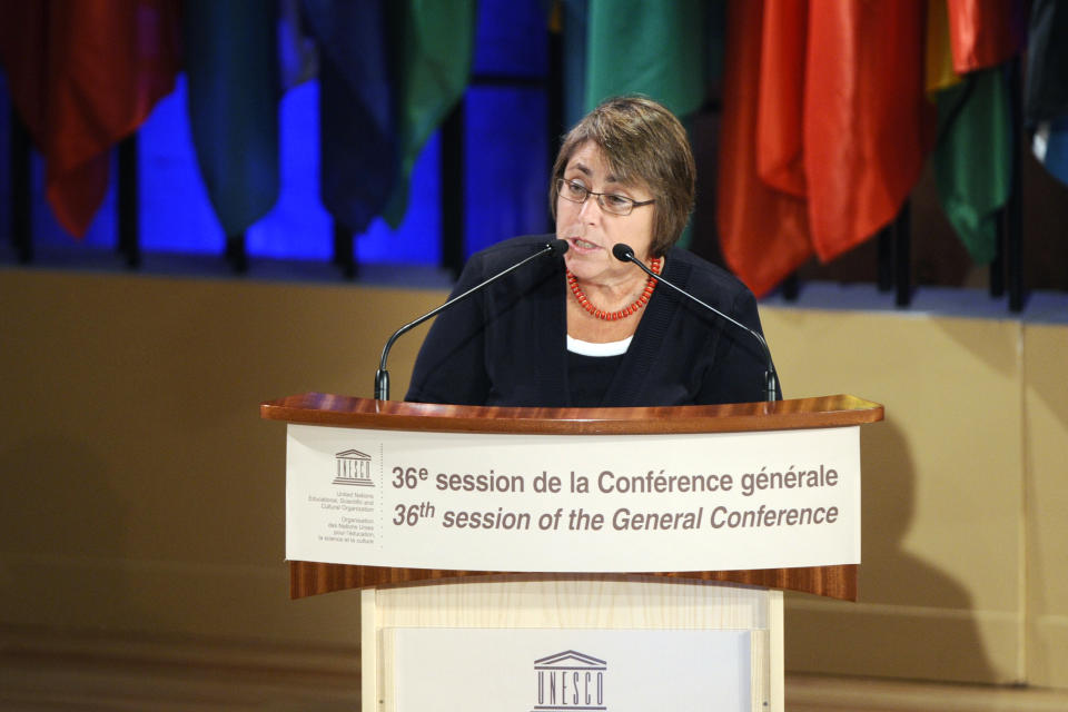 U.S Under Secretary of Education Martha Kanter delivers a speech on October 31, 2011 at the headquarters of UNESCO in Paris. Palestinians won a crucial vote to enter UNESCO as a full member on Monday, scoring a symbolic victory in their battle for statehood ahead of a similar vote at the UN General Assembly in New York. AFP PHOTO MIGUEL MEDINA (Photo credit should read MIGUEL MEDINA/AFP via Getty Images)
