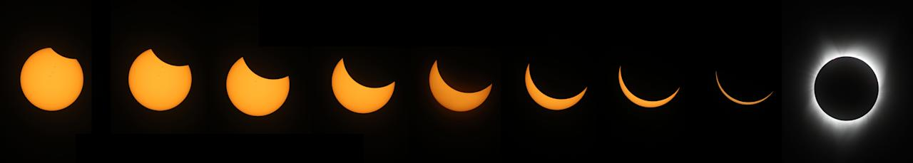 <p>A composite photo of the stages of a solar eclipse as viewed from South Mike Sedar Park in Casper, Wyoming. Photo from Getty Images </p>