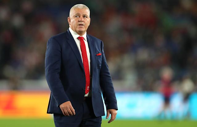 Wales coach Warren Gatland watches as the team warms up during the Rugby World Cup 2019 Semi-Final match between Wales and South Africa at International Stadium Yokohama. (Credit: Getty Images)