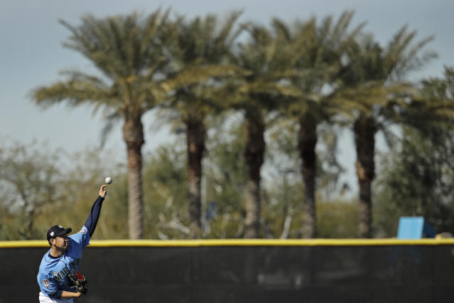 Seattle Mariners pitcher Yusei Kikuchi, from Japan, throws during spring training baseball practice Tuesday, Feb. 12, 2019, in Peoria, Ariz. (AP Photo/Charlie Riedel)