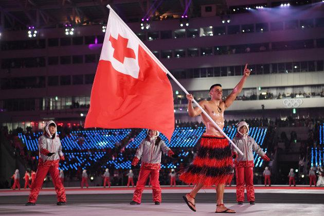 Pita Taufatofua of Tonga leads his country during the opening ceremony of the Pyeongchang 2018 Winter Olympic Games at Pyeongchang Olympic Stadium on Feb. 9, 2018 in Pyeongchang-gun, South Korea.