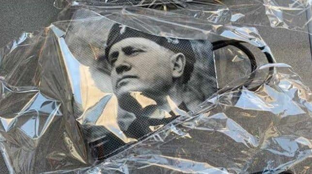 Face masks with the image of Mussolini caused controversy in May 2020 during the height of the first wave of the coronavirus - Twitter