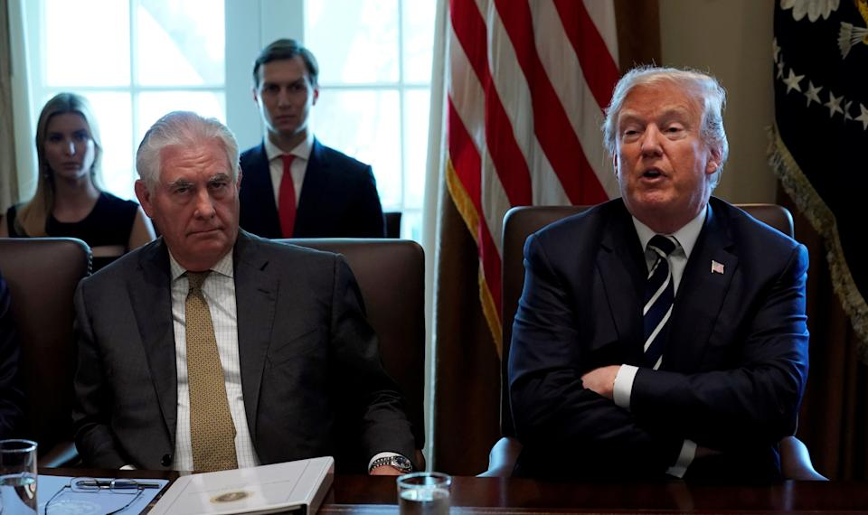 President Donald Trump had little familiarity with his first secretary of state, Rex Tillerson (left), before he appointed him. Trump eventually fired him via tweet. (Photo: Kevin Lamarque/Reuters)