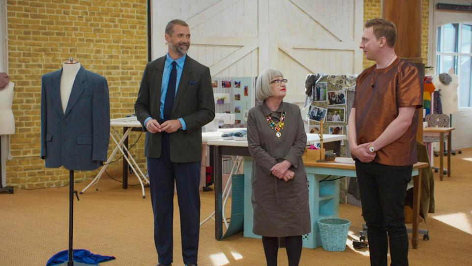 Sewing Bee's Patrick Grant, Esme Young, Joe Lycett. (BBC/Love Productions)