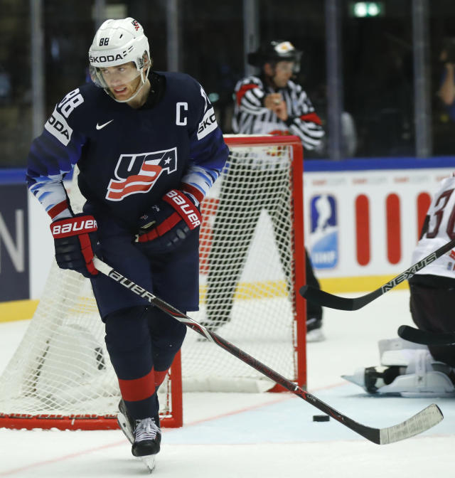 Patrick Kane of the United States reacts after his teams second goal during the Ice Hockey World Championships group B match between United States and Latvia at the Jyske Bank Boxen arena in Herning, Denmark, Thursday, May 10, 2018. (AP Photo/Petr David Josek)
