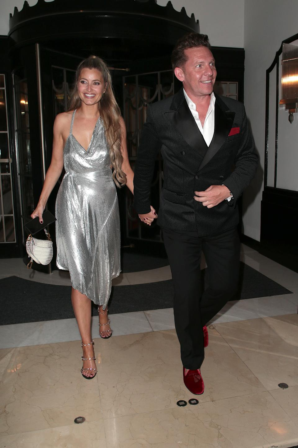 Holly Valance and Nick Candy are seen attending David Walliams' 50th birthday party at Claridge's hotel in Mayfair on September 04, 2021 in London, England. (Photo by Ricky Vigil/GC Images)