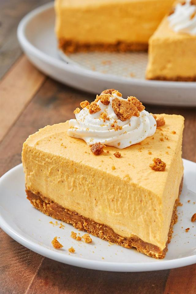 """<p>This <a href=""""https://www.delish.com/uk/cooking/recipes/a32090244/easy-no-bake-cheesecake-recipe/"""" target=""""_blank"""">no-bake cheesecake</a> is a  major time saver. The gingersnap crust is a must and adds that extra layer of flavour. Gently fold the fresh whipped cream into the batter so you don't loose it's beautiful volume. You can make this cheesecake a couple of days ahead of time and it even freezes well. We love it straight from the freezer, which will make for prettier slices.  </p><p>Get the <a href=""""https://www.delish.com/uk/cooking/recipes/a34039445/easy-no-bake-pumpkin-cheesecake-recipe/"""" target=""""_blank"""">No-Baked Pumpkin Cheesecake</a> recipe.</p>"""