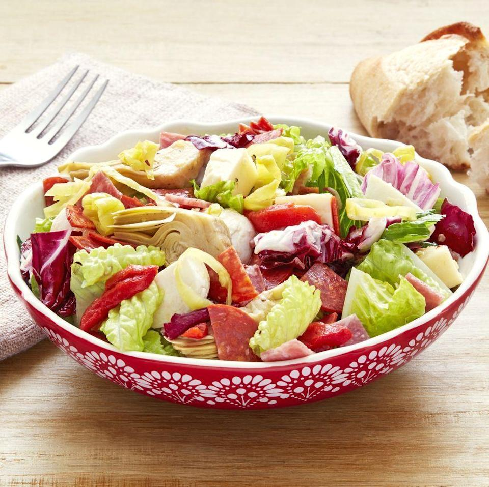 """<p>Make an easy Italian-inspired dinner by serving this refreshing salad with a hearty baked pasta, your favorite meatballs, and a glass of red wine. Buon Appetito! </p><p><a href=""""https://www.thepioneerwoman.com/food-cooking/recipes/a32676515/antipasti-chopped-salad-recipe/"""" rel=""""nofollow noopener"""" target=""""_blank"""" data-ylk=""""slk:Get Ree's recipe."""" class=""""link rapid-noclick-resp""""><strong>Get Ree's recipe. </strong></a></p><p><a class=""""link rapid-noclick-resp"""" href=""""https://go.redirectingat.com?id=74968X1596630&url=https%3A%2F%2Fwww.walmart.com%2Fsearch%2F%3Fquery%3Dwine%2Bglasses&sref=https%3A%2F%2Fwww.thepioneerwoman.com%2Ffood-cooking%2Fmeals-menus%2Fg36806222%2Ffall-salad-recipes%2F"""" rel=""""nofollow noopener"""" target=""""_blank"""" data-ylk=""""slk:SHOP WINE GLASSES"""">SHOP WINE GLASSES</a></p>"""