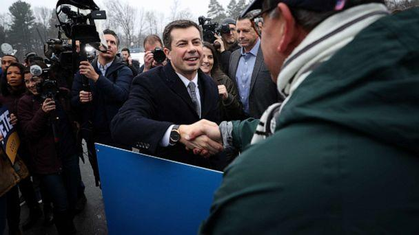 PHOTO: Democratic presidential candidate former South Bend Mayor Pete Buttigieg greets supporters outside a polling station at Broad Street Elementary School, Feb. 11, 2020 in Nashua, N.H. (Win Mcnamee/Getty Images)