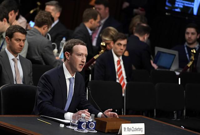 WASHINGTON, DC – APRIL 10: Facebook co-founder, Chairman and CEO Mark Zuckerberg testifies before a combined Senate Judiciary and Commerce committee hearing in the Hart Senate Office Building on Capitol Hill April 10, 2018 in Washington, DC. Zuckerberg, 33, was called to testify after it was reported that 87 million Facebook users had their personal information harvested by Cambridge Analytica, a British political consulting firm linked to the Trump campaign. (Photo by Alex Wong/Getty Images)
