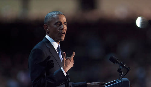 Obama delivers dignified farewell address. But Trump demands an Obama investigation by Congress.