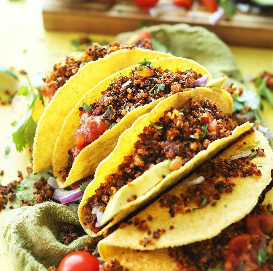"""<p>Quinoa taco """"meat"""" is a super flavorful alternative to ground beef when you've still got all of those taco spices working together.</p> <p>Get the recipe <a href=""""https://minimalistbaker.com/quinoa-taco-meat/"""" rel=""""nofollow noopener"""" target=""""_blank"""" data-ylk=""""slk:here"""" class=""""link rapid-noclick-resp"""">here</a>.</p>"""