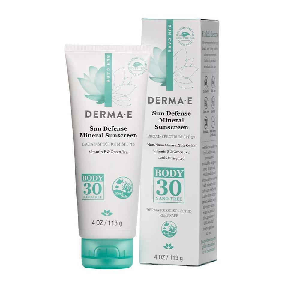 """<h2>Derma E</h2><br>Up to 30% off select products<br><br><strong>Derma E</strong> Natural Sun Defense Mineral Sunscreen SPF 30, $, available at <a href=""""https://amzn.to/3d0KYqg"""" rel=""""nofollow noopener"""" target=""""_blank"""" data-ylk=""""slk:Amazon"""" class=""""link rapid-noclick-resp"""">Amazon</a>"""