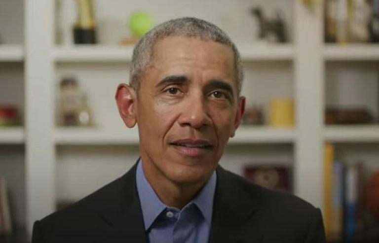 This file screen grab from a video released by BidenForPresident shows former president Barack Obama endorsing Joe Biden's White House bid in a video message on April 14, 2020