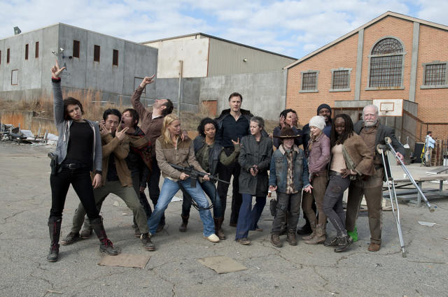 <p>Yes, Norman Reedus does appear to be licking Steven Yeun, as is often his way.<br><br>Pictured: Lauren Cohan, Steven Yeun, Norman Reedus, Andrew Lincoln, Laurie Holden, Sonequa Martin-Green, David Morrissey, Melissa McBride, Melissa Ponzio, Chandler Riggs, Emily Kinney, Chad Coleman, Danai Gurira, and Scott Wilson<br><br>(Photo: AMC) </p>