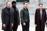 <p>Tom Cruise and costars Rebecca Ferguson and Simon Pegg are seen filming <em>Mission: Impossible 7</em> in St. Mark's Square on Wednesday in Venice, Italy.</p>