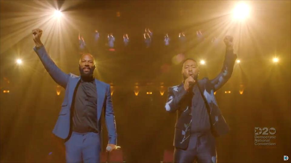 Singer John Legend and rapper Common perform during the 4th and final night of the 2020 Democratic National Convention, as participants from across the country are hosted over video links from the originally planned site of the convention in Milwaukee, Wisconsin, U.S. August 20, 2020. 2020 Democratic National Convention/Pool via REUTERS