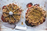 """Juicy, fruit-filled pies call for a baked-through bottom crust. <a href=""""https://www.bonappetit.com/recipe/strawberry-pistachio-crumble-pie?mbid=synd_yahoo_rss"""" rel=""""nofollow noopener"""" target=""""_blank"""" data-ylk=""""slk:See recipe."""" class=""""link rapid-noclick-resp"""">See recipe.</a>"""