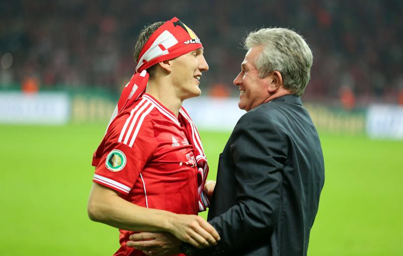 Munich's head coach Jupp Heynckes (R) and Bastian Schweinsteiger celebrate after winning the German DFB Cup final soccer match between FC Bayern Munich and VfB Stuttgart at the Olympic Stadium in Berlin, Germany, 01 June 2013. Photo: Kay Nietfeld/dpa (ATTENTION: The DFB prohibits the utilisation and publication of sequential pictures on the internet and other online media during the match (including half-time). ATTENTION: BLOCKING PERIOD! The DFB permits the further utilisation and publication of the pictures for mobile services (especially MMS) and for DVB-H and DMB only after the end of the match.) +++(c) dpa - Bildfunk+++ | usage worldwide (Photo by Kay Nietfeld/picture alliance via Getty Images)