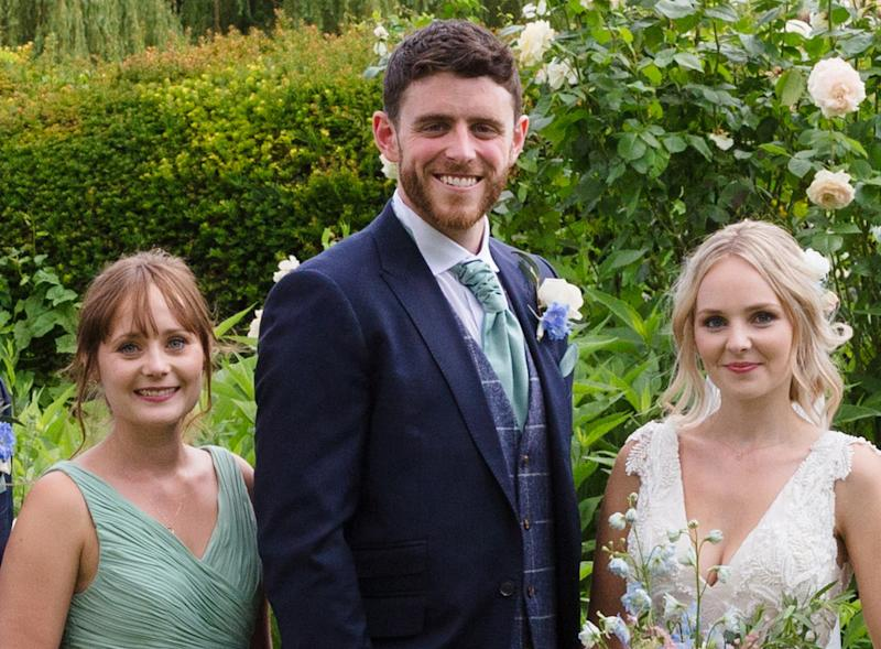 Andrew Harper with his sister-in-law Kate and his wife Lissie at their wedding. (PA)