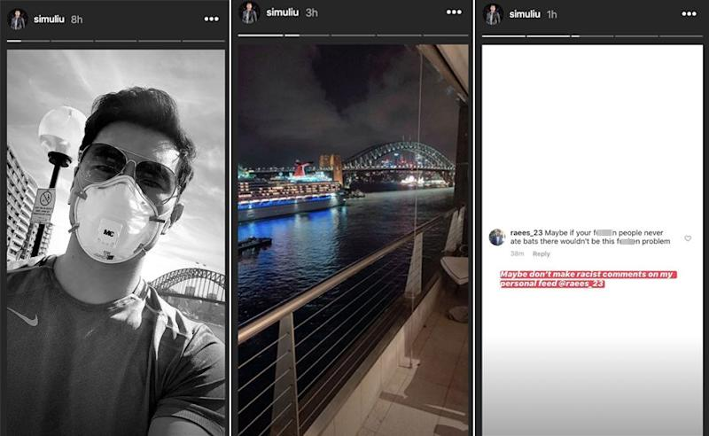 Shang Chi actor Simu Liu has been keeping fans updated on time in Sydney and the racism he's faced amid the coronavirus crisis. (Photo: Instagram/simuliu)