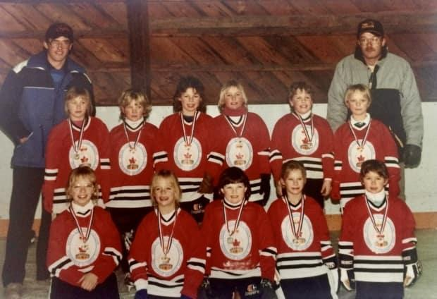 My ringette team at Hodgeville rink in March 1988.