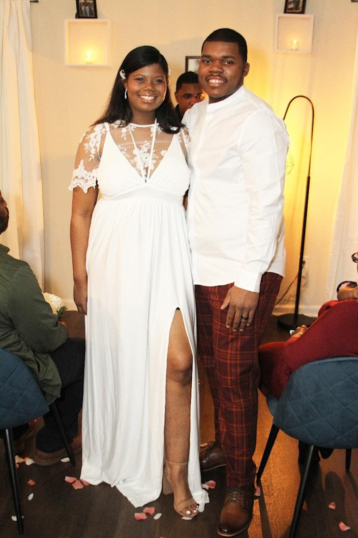 Imani Francies (with new husband Natrone Brown at their Jan. 30 wedding) says the pandemic gave the on-off couple opportunity to grow together. (Photo: Courtesy of Imani Francies)