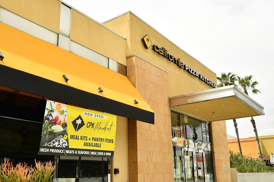 LOS ANGELES, CALIFORNIA - APRIL 17: California Pizza Kitchen sells groceries to stay afloat in reaction to the coronavirus on April 17, 2020 in Burbank, California. (Photo by Amy Sussman/Getty Images)