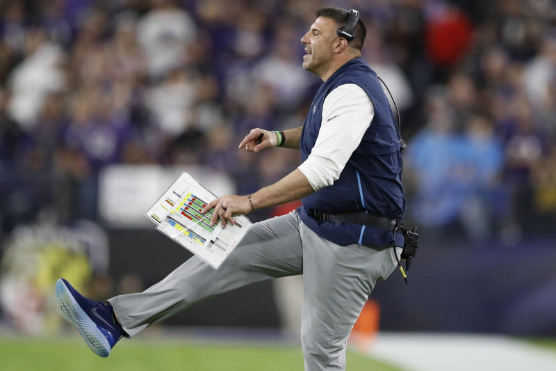 FILE - In this Jan. 11, 2020, file photo, Tennessee Titans head coach Mike Vrabel works against the Baltimore Ravens during the first half an NFL divisional playoff football game, in Baltimore. It's taken first-time head coach Mike Vrabel two seasons, but the hands' on former linebacker with three Super Bowl rings himself has them a win away from the franchise's second Super Bowl berth. (AP Photo/Julio Cortez, File)