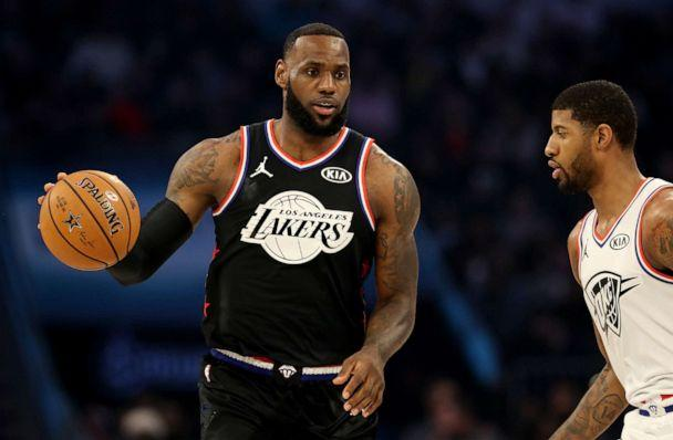 PHOTO: LeBron James of the LA Lakers and Team LeBron dribbles down court during the first quarter of the NBA All-Star game on February 17, 2019, in Charlotte, North Carolina. (Streeter Lecka/Getty Images, FILE)