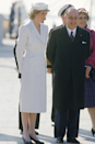 <p>Despite her love of skirt suits, Diana was also a fan of perfectly tailored coat dresses, like this ivory one worn in Italy in April 1985. </p>